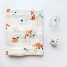 Baby swaddle muslin blanket on fox picture