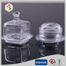 Clear glass butter dish