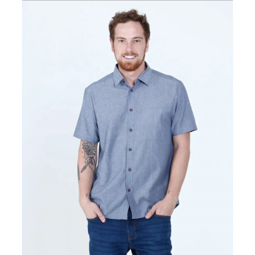 Short sleeve Plain 100% cotton Oxford dress shirts