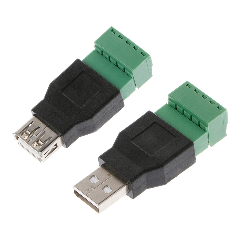 USB 2.0 Type A Male/Female to 5P Screw w/ Shield Terminal Plug Adapter Connecto