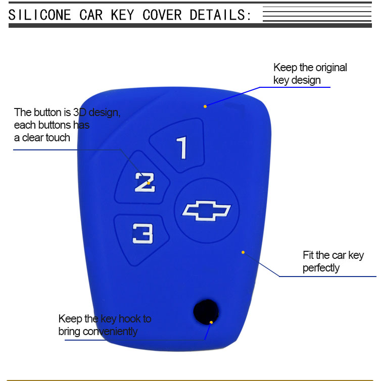 Car Key Silicone Cover For Chevrolet