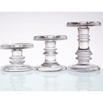 Short Glass Candle Holder for Pillar Taper