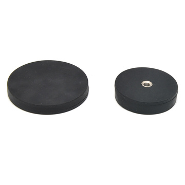Rubber Coated Pot Magnet with M4 Thread Hole
