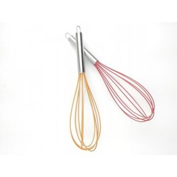 colour egg whisk with stainless steel handle