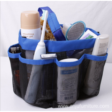 Bathroom hanging fabric hanging bag organizer mesh shower caddy