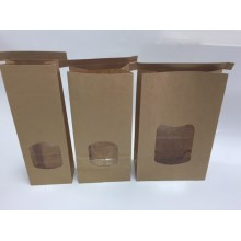 Kraft 1LB Paper Tin Tie Bags With WNindow
