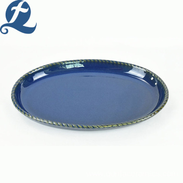 New design stoneware restaurant use modern ceramic elliptical disk