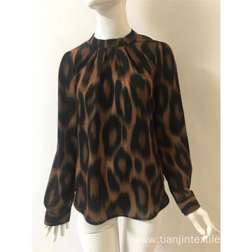 polyester leopard printing shirt