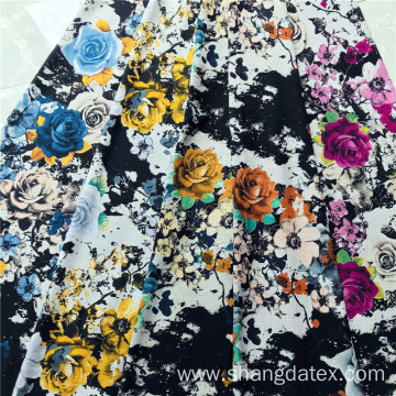 Rayon 30S Black Discharge Printed Flower