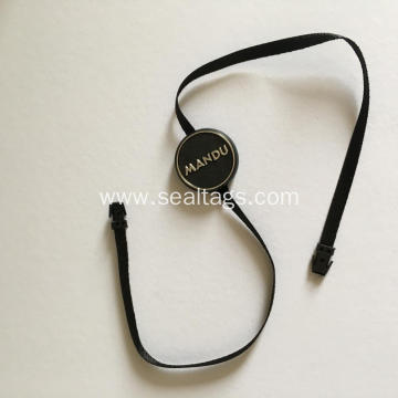 Plastic head tag with ribbon cord