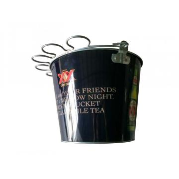 Ice bucket with glass holder handle