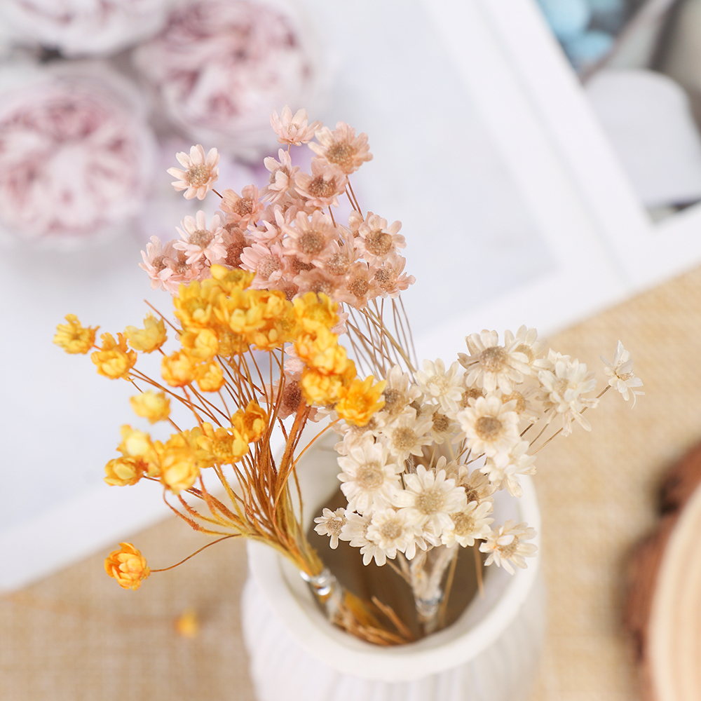 1 Bunch Decorative Dried Flowers Mini Daisy Small Star Flowers Bouquet Natural Plants Preserve Floral For Wedding Home Decor