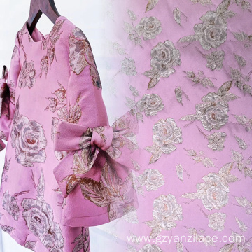 Dirty Pink Metallic Jacquard Fabric for Clothing