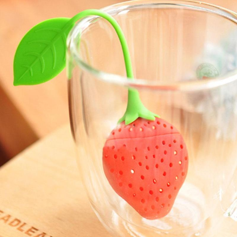 Red Cute Silicone Tea Strainer Creative Strawberry Shape Tea Leaf Coffee Filter Infuser Food Grade Silicone Safe Durable