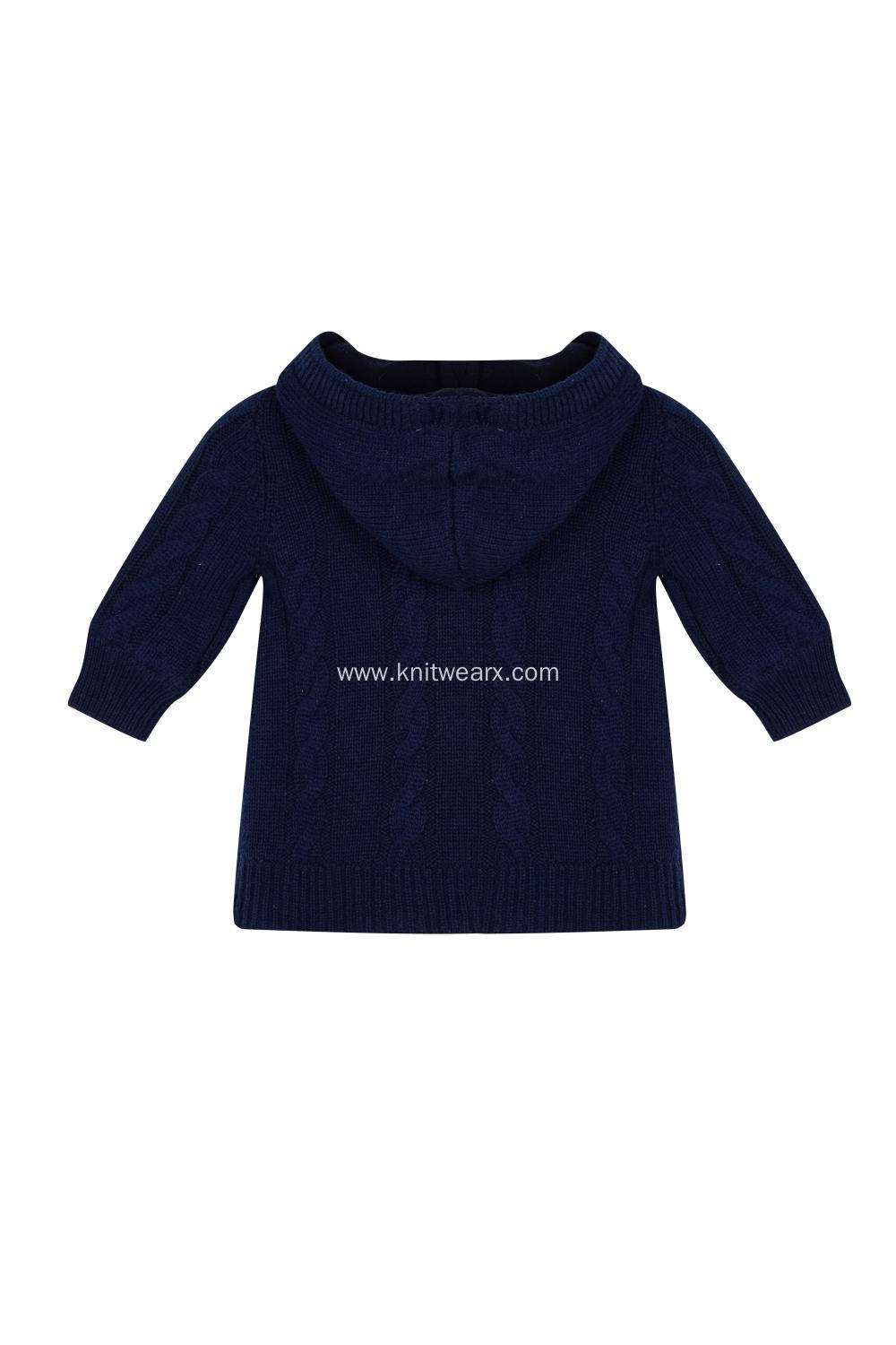 Baby's Knitted Horn Button Lined Cable Cardigan Hoodie