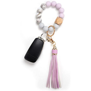 Silicone Key Ring Bracelet Beaded Wristlet Tassel