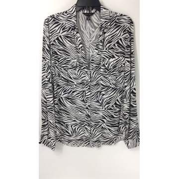 Black and White Striped Animal Print Shirt
