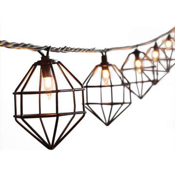 Outdoor 10 Bulb String Light Metal Diamonds