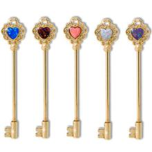 Gold Tone Opal Heart Key Straight Barbell
