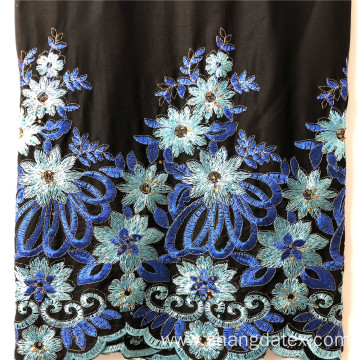 Shaoxing Rayon Satin With Embroidey On Black