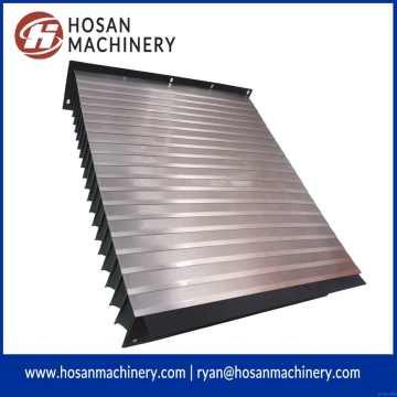 Accordion guide way shield with protective steel plate