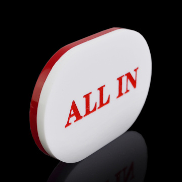 Oval Acrylic All In Button White and Red