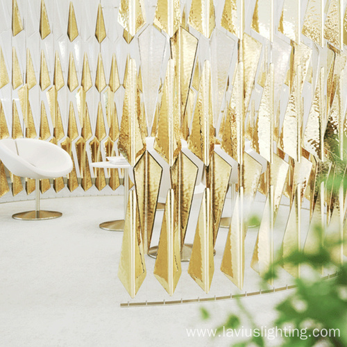 Banquet hall big gold crystal led ceiling lamp