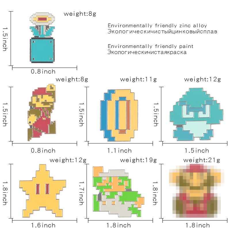 Super Mario Luigi Series Pin Mushroom Star Magic power big Pass the test Enamel Brooches Badges for kids Gift Fashion Jewelry