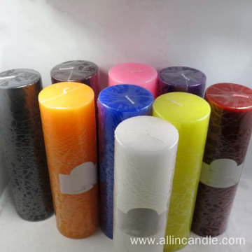 multi colored pillar candle for wedding
