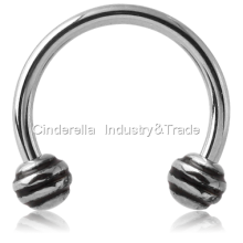 Surgical Steel Circular Barbell with Striped-Balls