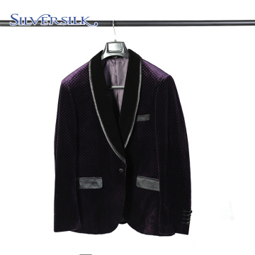 Velour Gentlemen Suits Purple Mens Blazers Party Wear