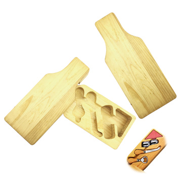 Wine Bottle Shape Bamboo Cheese Board Set
