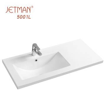 Porcelain material bathroom square table lelf wash hands counter top basin