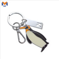 Metal custom penguin cute small keychain for girls