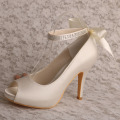 Ivory Ankle Strap Platform Shoes for Women