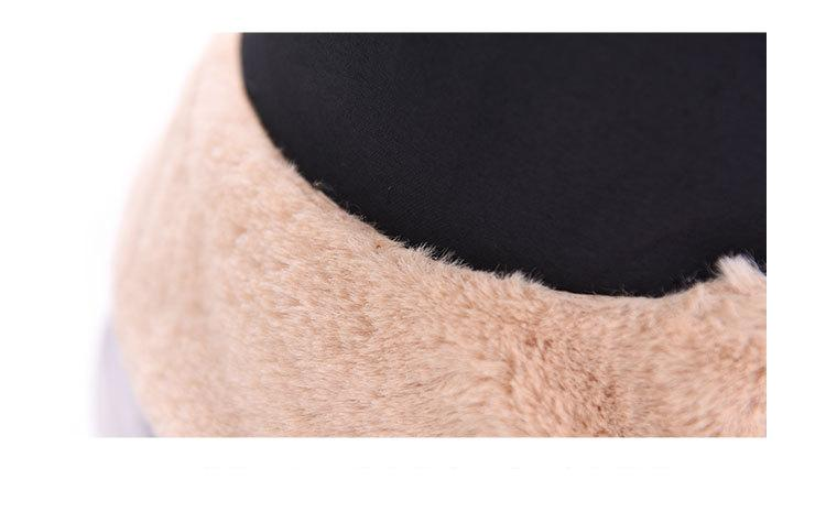 Fisherman hat lady autumnwinter plush basin hat Korean monochrome flat top wide eaves casual fashion thick fur warm hat (7)