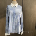 Ladies' yarn dyed stripe long sleeve contrast shirt