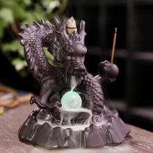 7 color Crystal ball Dragon Incense Burner Ceramic Backflow ncense holder Creative Smoke Waterfall Incense Holder Home Decor