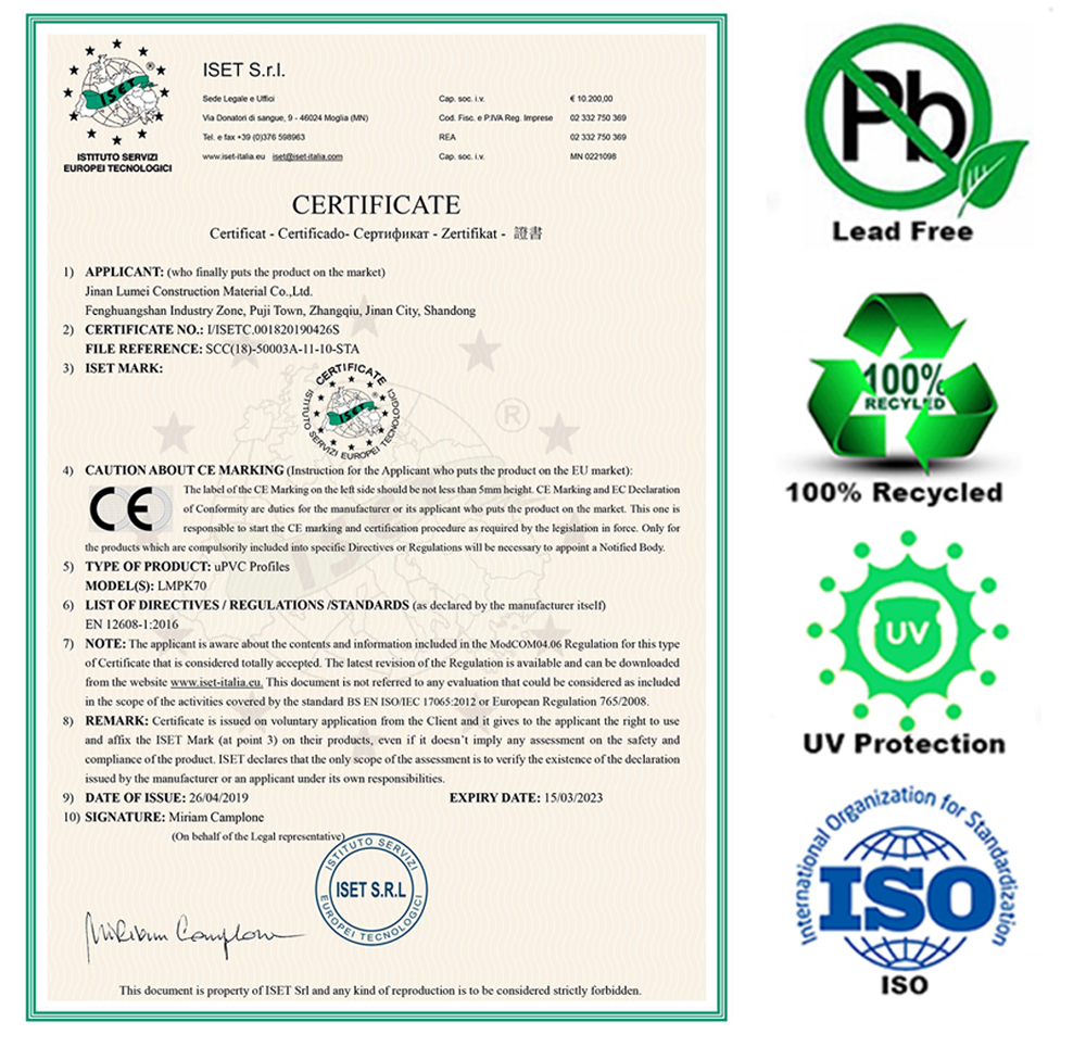 CE Certification for Best UPVC Profiles
