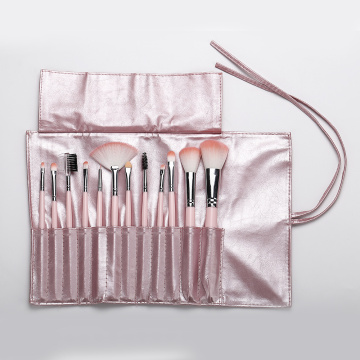 12 pieces pink makeup brush with pu bag