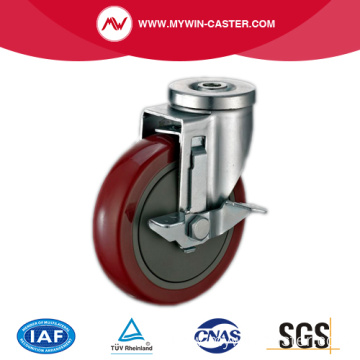Side Braked Hollow Swivel Style PU Industrial Casters