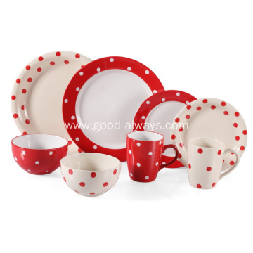 16 Piece Stoneware Dinnerware Set-Red