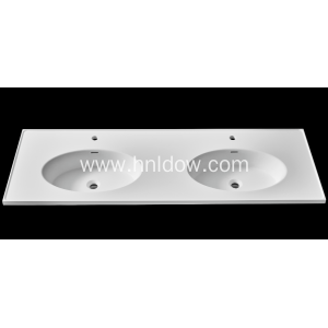 Stone resin double bowl basin for cabinet