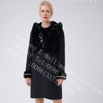 Australia Merino Shearling Coat With Mink Flowers