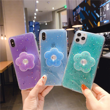 Suitable foriPhone11pro max xs mobile phone case Hyun same flower with bracket small fresh simple fashion silicone female models