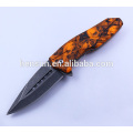 Plastic Handle Folding Knife with Stone Washed Blade