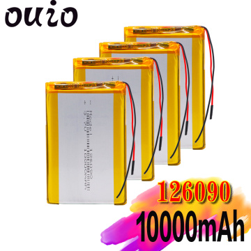 1/2/4pcs 3.7V 10000mAh Li-Po Rechargeable Battery 126090 For MP4 Tablet PC GPS MID Bluetooth speaker, Digital Camera LED Lamp