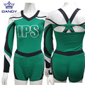 Emerald girls off-shoulder cheer uniforms