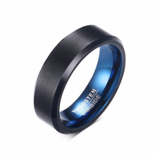 Cheap mens blue black tungsten carbide wedding bands