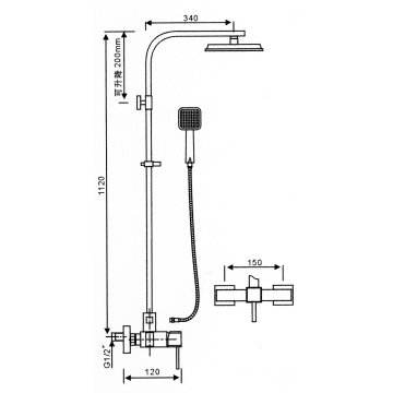 External pipe shower system with tub faucet